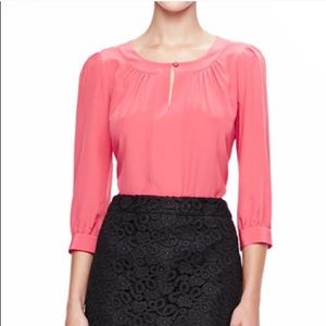 Kate Spade Live Colorfully 100% silk pink blouse 6
